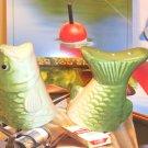 VINTAGE FRESH WATER TROUT FISH SALT PEPPER SET - CERAMIC MIB