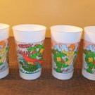 1990 Set Of 4 Burger King Teenage Mutant Ninja Turtles Cups