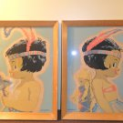 Set Of 2 Vintage American Indian Boy And Girl Signed Harry Wylie Framed Art