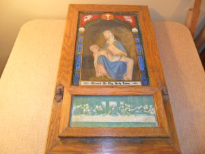 Antique Catholic Religious Last Rites Sick Call Shadow Box Oak NICE (SOLD)