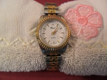 Vintage Pearl Dial Quartz Watch gold and silver tone