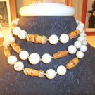 Vintage 3 strand wooden mix beaded necklace