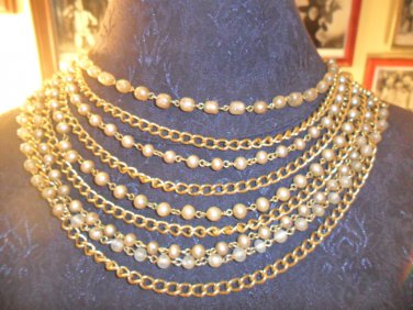 Vintage stunning 9 strand faux pearl chain choker necklace
