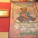 Lot of 2 Boyds Bear wall Tapestry & framed art