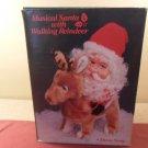 Vintage Musical Santa With Walking Reindeer