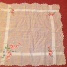 Lovely Vintage Embroidered Flower Hankie Handkerchief