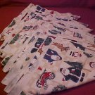 LOT OF 8 CRISTMAS LINEN NAPKINS OLD TIME SANTA