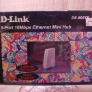 New D-Link DE-805TP, 5 Port 10MPS Ethernet Mini Hub