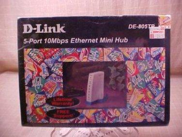 New D-Link DE-805TP, 5 Port 10MPS Ethernet Mini Hub