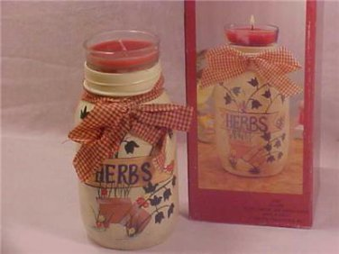 "COUNTRY HERBS GLASS CANDLE JAR 8"" MIB GREAT GIFT"