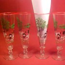 RARE VINTAGE ESTATE SET OF 4 UNUSUAL TALL DRINK GLASS