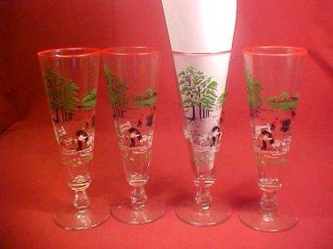 RARE VINTAGE ESTATE SET OF 4 UNUSUAL TALL DRINK GLASS
