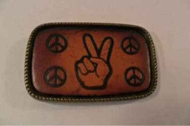 PEACE SIGN BRASS BELT BUCKLE