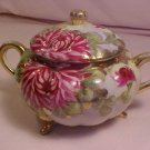 VINTAGE SUGAR BOWL FLORAL DESIGN WITH GOLD TRIM