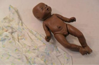 VINTAGE REAL LIFE BLACK VINYL BABY DOLL ANATOMICALLY CORRECT