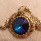 Vtg Gold tone Blue Clear Rhinestones Snake Pin Brooch