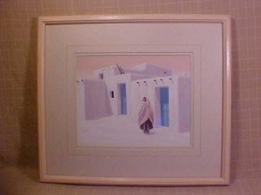 DEBORAH HIATT SOUTHWEST ART MATTED FRAMED & SIGNED