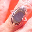 BEAUTIFUL AVON ART DECO SILVER SHELL STONE RING
