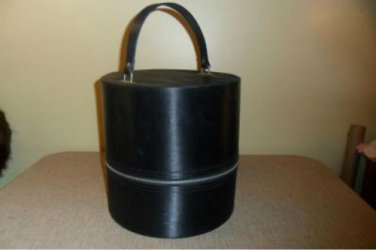 Vintage 50s Black Round Hat Box / Wig Carry On Case Luggage Suitcase