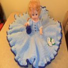 BED DOLL BLUE & WHITE HAND-CROCHETED RUFFLED DRESS 18 TALL
