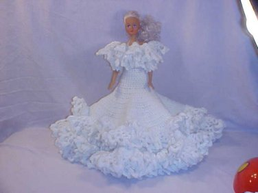 VINTAGE LARGE BARBIE TYPE DOLL w/CROCHETED DRESS