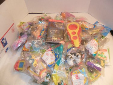 Large Box filled with collectible McDonald's and Burger King Happy Meal Toys