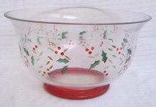Pfaltzgraff Winterberry Hand Painted Glass Salad Bowl  pleasuresntreasures