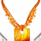 Sunny Orange and Yellow Necklace with Earrings