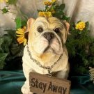 Bulldog with Welcome/Stay Away Sign