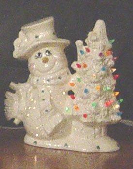Irish Snowman Holding Light Up Christmas Tree