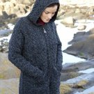 Aran Irish Wool Sweater Hooded Zipper Coat in Charcoal Size XLarge