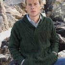 Size Medium Men's Shawl Collar Irish Wool Sweater in Green