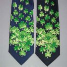 Falling Shamrocks Irish Neck Tie Navy Blue Backround