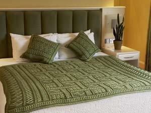 Aran Two Toned Irish Wool Throw in Green