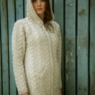 Aran Irish Wool Sweater Hooded Zipper Coat in Natural Size Large