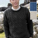 Traditional Irish Crew Neck Wool Sweater Charcoal - XLarge