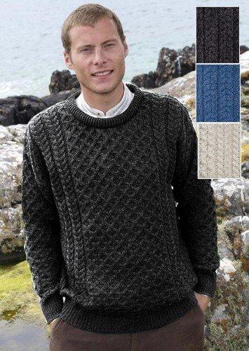 Traditional Irish Crew Neck Wool Sweater Charcoal - Large