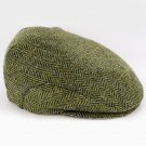 Irish Wool Trinity Cap Green Herringbone Size Medium