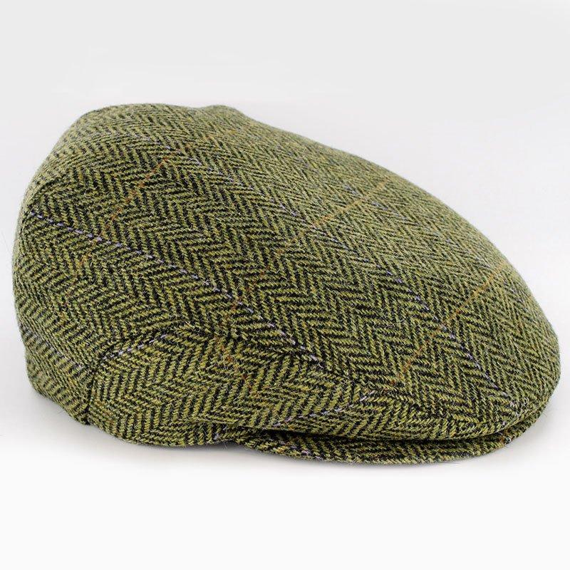 Irish Wool Trinity Cap Green Herringbone Size Xlarge