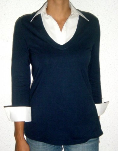 Knit collared shirt (navy)