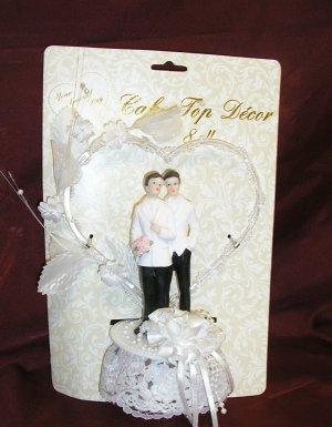 Gay Wedding GROOM/GROOM Same-Sex CAKE TOPPER