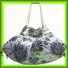 THAI SILK HAND SHOULDER BAG WHITE FLORAL VELVET HOBO / B101