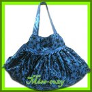 THAI SILK VELVET HAND SHOULDER BAG BLUE FLORAL HOBO / B120