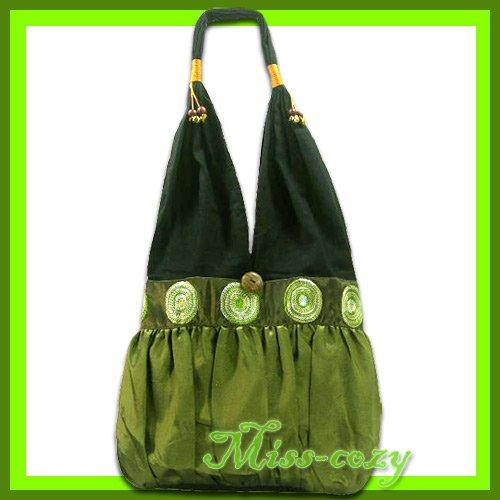 THAI SILK EMBROIDER SHOULDER BAG GREEN-GOLD HIPPIE HOBO / B129