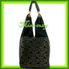 THAI SILK HAND SHOULDER BAG BLACK GOLD TOTE HOBO / B140
