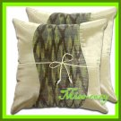 2 THAI SILK CUSHION THROW CASE PILLOW COVER CREAM / 1104