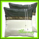 2 THAI SILK CUSHION CASE PILLOW COVER TWO-TONE / 1126