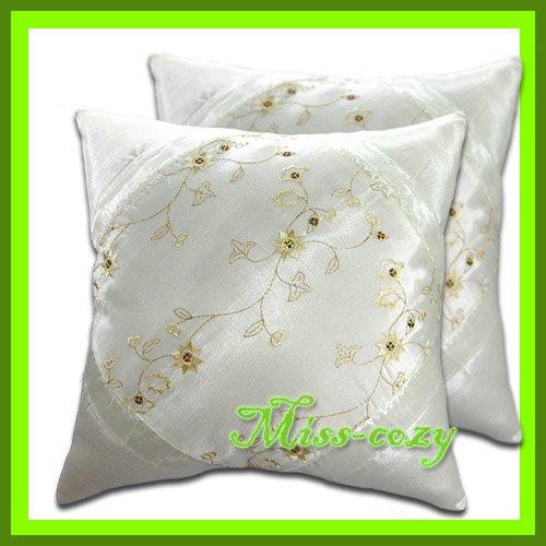 2 THAI SILK CUSHION CASE PILLOW COVER WHITE FLORAL / 1137