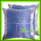 2 THAI SILK CUSHION PILLOW COVER PURPLE TWO-TONE / 1156