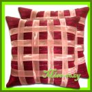 2 THAI SILK CUSHION CASE PILLOW COVER RED RIBBON / 1165